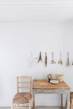 home accessories table Cucumbi: A Rustic Guest House in Portugal, Suited for Autumn - Remodelista Design Websites, Bed & Breakfast, Rue Verte, Plank Table, Rustic Pendant Lighting, Four Rooms, Exposed Brick Walls, Beautiful Farm, White Shelves