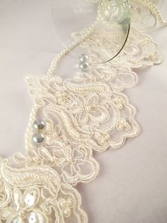 1 Yard Elegant Luxury White Wedding Lace Beaded Lace Bridal Bride's Dress Veil Lace Lace Trim 5 inches