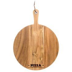 Paleta pizza de madera de acacia con ojetillo metálico y cuerda de cuero.