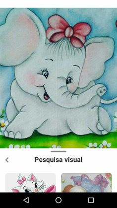 Fabric Painting, Painting & Drawing, Elephant Pictures, Cute Paintings, Art Drawings For Kids, Window Art, Free Machine Embroidery Designs, Drawing Sketches, Baby Animals