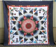 Spectacular Contemporary Starburst Applique Quilt Loaded with Hand QLTNG See   eBay