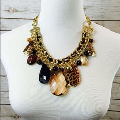 Chunky Teardrop leopard print statement Necklace When an outfit calls for a dash of stunning animal print, this necklace is it. 18 inches long plus an extension. Large acrylic stones. Gift Box included. Jewelry Necklaces