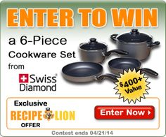 Enter to win a free 6-piece cookware set from Swiss Diamond in RecipeLion's latest giveaway contest. Enter by 4/21/2014.