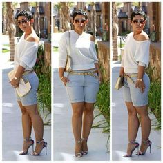 Classy shorts with heels look. Mimi G Style
