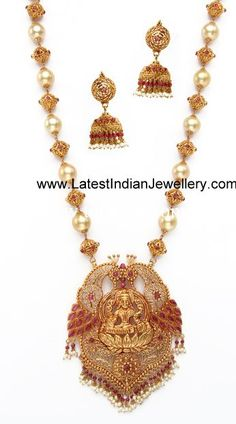 Elegant Temple Jewellery with South sea pearls Totaram India Jewelry, Temple Jewellery, Indian Jewellery Design, Jewelry Design, Designer Jewellery, South Indian Jewellery, Long Pearl Necklaces, Gold Necklace, Jewellery Sketches