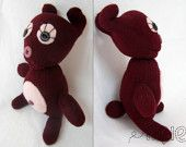 Glove Bunny handmade - soft toy - Burgundy