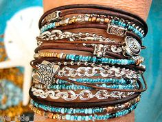 Boho Chic~Turquoise Endless Leather Wrap Beaded Bracelet ~Silver Accents FREE SH