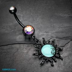 Blackline Glow Star Cluster Sun Belly Button Ring