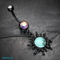 Blackline Glow Star Cluster Sun Belly Button Ring
