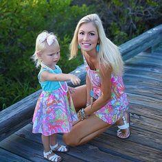 Via @trobbins1 Instagram- Lilly Pulitzer Deanna Romper and Girls Emmaline Dress in Scuba to Cuba #SummerinLilly
