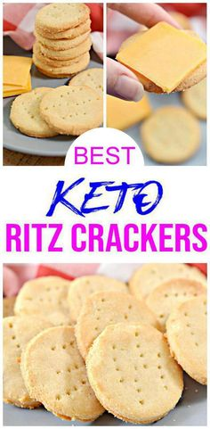 5 ingredient keto crackers that taste AMAZING! These low carb Ritz crackers came out so good! They really taste like Ritz crackers. Easy keto recipe for the BEST low carb crackers. You can eat these… Keto Foods, Keto Snacks, Ketogenic Recipes, Easy Snacks, Low Carb Recipes, Snack Recipes, Ketogenic Diet, Vegetarian Recipes, Healthy Recipes