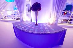 Turquoise & Purple Bat Mitzvah Escort Table with Circle Seating Cards {Party Planner: Florie Huppert Design, Photography by 5th Avenue Digital} - mazelmoments.com