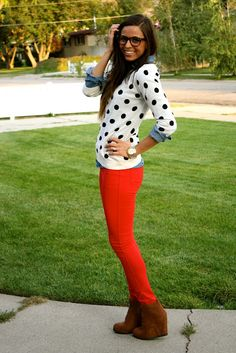 Colored denim looks great with a neutral polka dot sweater!