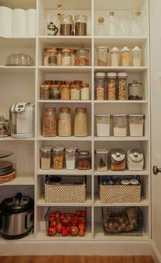 New Kitchen Pantry organization Cabinets Shelves Kitchen Organization Pantry Organization Grocery Planning Kitchen Pantry Design, Home Decor Kitchen, Diy Kitchen, Home Kitchens, Kitchen Ideas, Kitchen Jars, Kitchen Storage Furniture, Kitchen With Pantry, Small Pantry Closet
