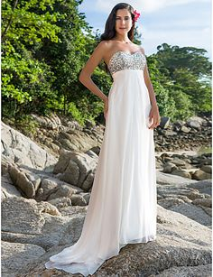 Elegant Sweep Train Sweetheart Crystal Chiffon Beach Destination Wedding  Dresses 2017 Bridal Gown Fast Shipping Robe De Mariage-in Wedding Dresses  from ... 4174c3e10968