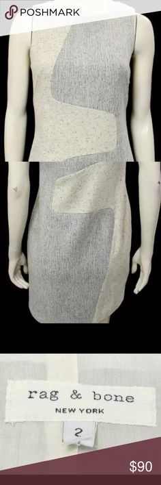 Rag & Bone Dress Grey and White Wool Sheath Dress rag & bone Dresses Mini