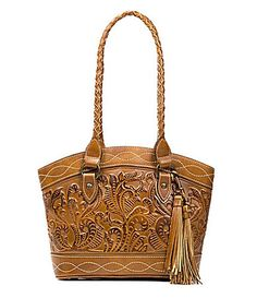 73f13444035 Patricia Nash Burnished Tooled Collection Zorita Tasseled Satchel  Dillards  Tool Tote