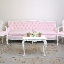Romantic Shabby Chic Pink Tufted Couch