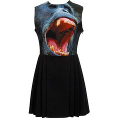 Christopher Kane Gorilla dress with pleated skirt ($2,070) ❤ liked on Polyvore featuring dresses, vestidos, christopher kane, tops, colorful dresses, colorful print dresses, jewel print dress, print dresses and mid thigh dress