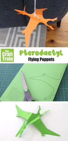 Make a flying pterodactyl paper puppet on a string with this free printable template. This is a fun and easy paper dinosaur craft for kids! #kidscrafts #papercrafts #puppets #kidsactivity #pterodactyl #dinosaurs #dinosaurcrafts #printablecrafts #puppets #thecrafttrain Animal Crafts For Kids, Paper Crafts For Kids, Easy Crafts For Kids, Preschool Crafts, Art For Kids, Dinosaur Art Projects, Dinosaur Activities, Dinosaur Crafts, Spanish Activities