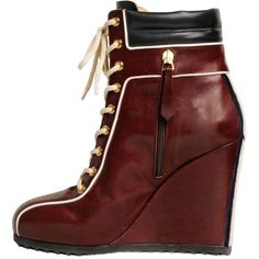 Tommy Hilfiger Collection Women 120mm Leather Sneaker Wedges ($465) ❤ liked on Polyvore featuring shoes, sneakers, lace up sneakers, tommy hilfiger sneakers, leather shoes, leather lace up sneakers and leather wedge shoes
