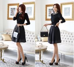 and winter Couture autumn outfit code thickened long slim Korean dress high-quality women's casual dress office uniform Winter Outfits Warm Casual, Casual Work Outfits, Office Outfits, Casual Dresses For Women, Office Uniform, Women's Casual, Office Wear, Autumn Casual, Office Attire