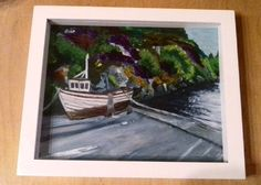 Heres a little drawing I did today  #artwork #art #artist #drawing #pencil #paint #acrylic #boat #water #donegal #done #heather #concrete #waterway #white #colour #green#purple #plants #frame #draw #light #boating #irishscenery #irishpainter #irish