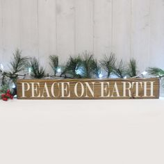 Peace On Earth  Block Sign- Hand Painted Wooden Block- Country Decor- Wooden Blocks- Vintage Style-Farmhouse Decor- Distressed- Home Decor by CountryLivingAtHeart on Etsy