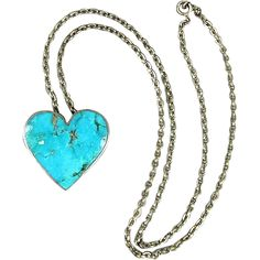 Native American Heart Pendant Necklace Turquoise - Sterling Silver