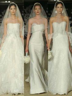 ♥ NOIVAS  Véu E Grinalda vestido de noiva Estilistas de Noivas Monique L'huillier http://www.motherofthebride.com.br/2014/04/carolina-herrera-bridal-week-2015.html