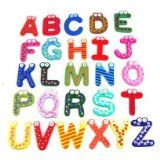 SODIAL- Funky Fun Colorful Magnetic Letters A-Z Wooden Fridge Magnets Kid toys Education