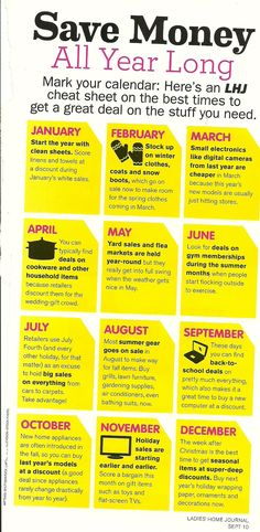 Money saving tips by month