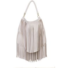 AKIRA Fringe Fantasy Purse - Ivory ($38) ❤ liked on Polyvore featuring bags, handbags, ivory, top handle bag, fringe handbags, zip bags, zip top bag and white fringe purse