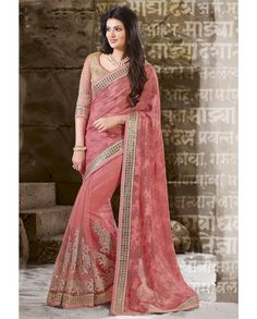 Pink sari with resham and resham zari embroidery   1. Pink chiffon net embroidered sari2. Golden resham zari and sequins embroidered pleats with embroidered blouse3. Comes with matching unstitched blouse4. Can be stitched up to size 42 inches
