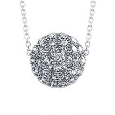 1 ctw Diamond Encrusted Sphere Necklace in 14k White Gold