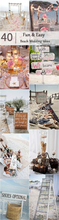 Beach wedding theme ideas / http://www.deerpearlflowers.com/fun-and-easy-beach-wedding-ideas/2/
