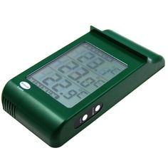 Large digital max min thermometer in a green case with easy to read display and is suitable for outdoor and indoor use. This thermometer's triple display shows minimum, maximum and current temperature simultaneously.