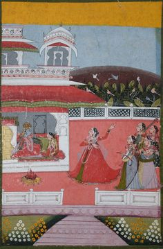 www.IndianMiniaturePaintings.co.uk - Folio from a Baramasa series: the month of Magha. Central India, circa 1840. Gouache and gold on wasli