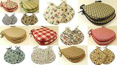 Pair of luxury dining or kitchen garden chair cushions tie on seat pads