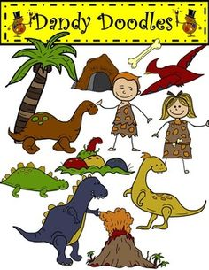 Earthy Color Dino Clip Art: 24 PNG Images (12 color and 12 BW)  $