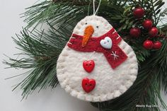 Cotton Batting Snowman - Red Wool Felt Scarf, Red Heart Buttons, White Snowflake, White Heart Button, All Hand Stitched Felt Snowman, Snowman Crafts, Ornament Crafts, Christmas Projects, Felt Crafts, Holiday Crafts, Snowmen, Christmas Ornaments To Make, Christmas Sewing