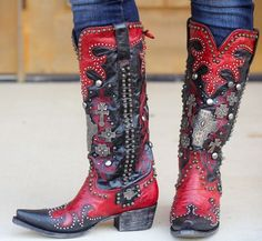 Lane Double D Ranch Ammunition Red Custom Cowboy Boots, Cowboy Boots Women, Cowgirl Boots, Riding Boots, Dc Boots, Combat Boots, Double D Ranch, Boot Jewelry, Cowboy Girl