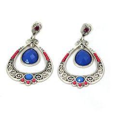 Blau-Boho-Stil-Ohrhaenger-Ohrringe-Farbig-Ethno-Glamondo-Modeschmuck