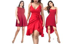 New Stylish Red Dresses Design for Women Cute Casual Dresses, Day Dresses, Designer Dresses, Stylish, Red, Women, Fashion, Moda, Designer Gowns