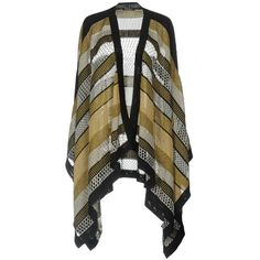 Balmain Capes & Ponchos ($1,700) ❤ liked on Polyvore featuring outerwear, gold, patterned poncho, balmain, style poncho, cape poncho and poncho cape
