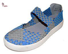 tmy B1371Femme Mary Jane Chaussures basses/Ballerine Fermée, Couleur Gris/Bleu Taille: 36–41 - Multicolore - Grau/ Blau, 40 EU - Chaussures bts (*Partner-Link)