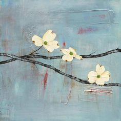 Dogwood on Blue II  by Laura Gunn prints for sale. Dogwood on Blue II Botanical and Floral canvas, acrylic, custom frame prints. Orientation: square . Color tones: blue , red