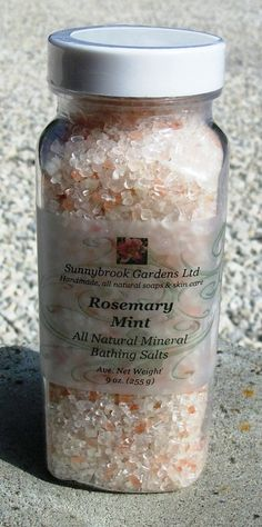 Rosemary Mint Mineral Bathing Salts, handcrafted, all natural, vegan friendly, cruelty free