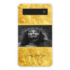 Jesus looking into heaven with a gold foil design power bank - photos gifts image diy customize gift idea