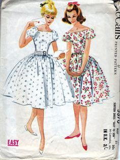 60s McCalls dress sewing patterns 5370, off shoulder dress, raglan sleeves, Bust 31 inches.   Subteen Dress Easy To Sew. Dress with dart fitted bodice